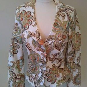 Cabi Paisley Print Blazer Jacket Size 8 Style 931